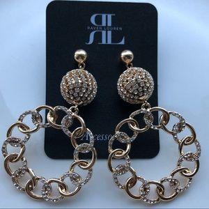 Gold Hoop Earrings with Rhinestone Details